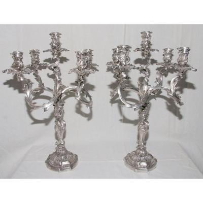Paire De Chandeliers En Bronze Argenté Signé Morlot
