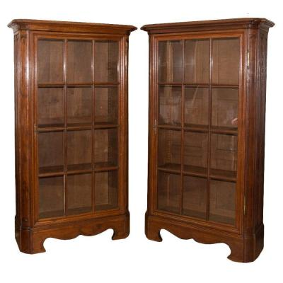 Pair Of Oak Bookcases Eighteenth Time
