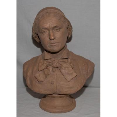 Buste En Terre Signé R. Chassaigne Et Daté 1881