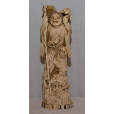 Sculpture Ivory Toad Man 19th Century Japan