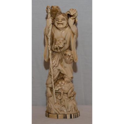 Sculpture En Ivoire Homme Crapaud Japon 19ème Siècle