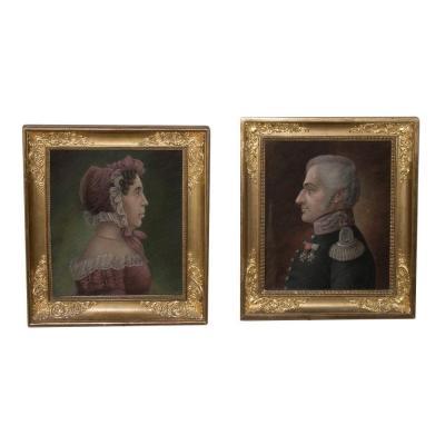 Paire De Portraits  époque Restauration