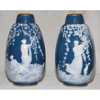 Pair Of Limoges Marcel Chaufriasse Vases Twentieth Century