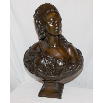 """Large Bronze Bust """"countess Du Barry"""" After Pajou Of 19th Century"""