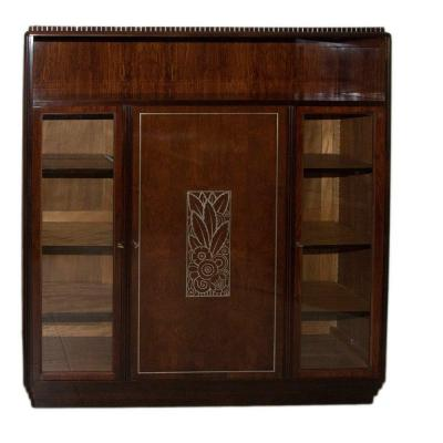 Bookcase In Rosewood And Mahogany Art Deco Period