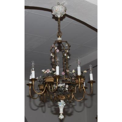 Sheet Metal Chandelier And Porcelain Capodimonte Early XXth Century