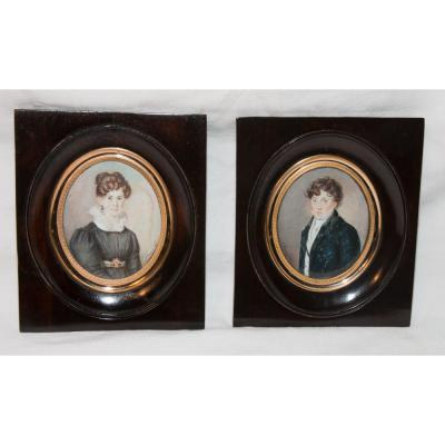Pair Of Miniature On Ivory Signed And Dated 1827