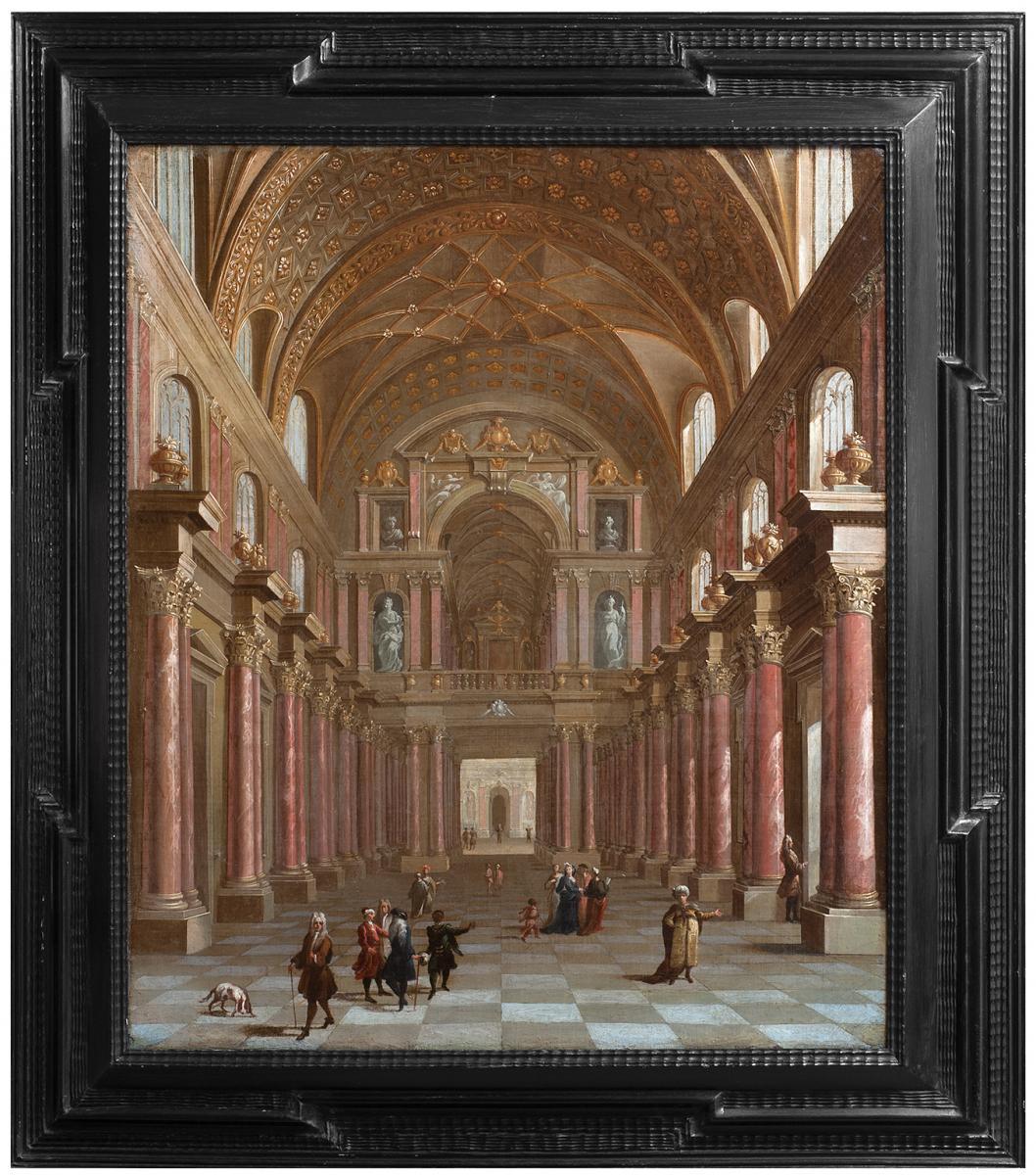 Intérieur d'un palais , Italie fin 17 è siècle