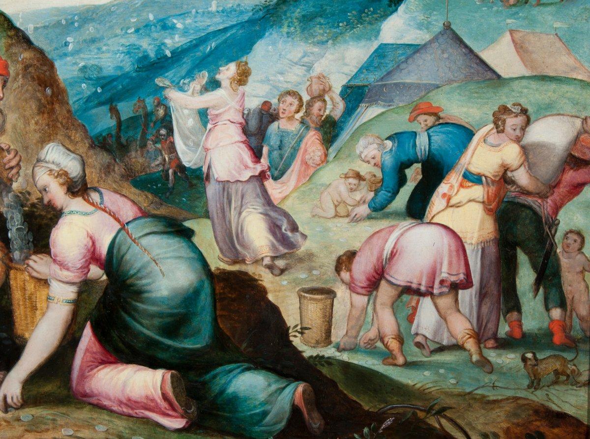 La récolte de la manne attribué au Maître du Fils Prodigue 16 è