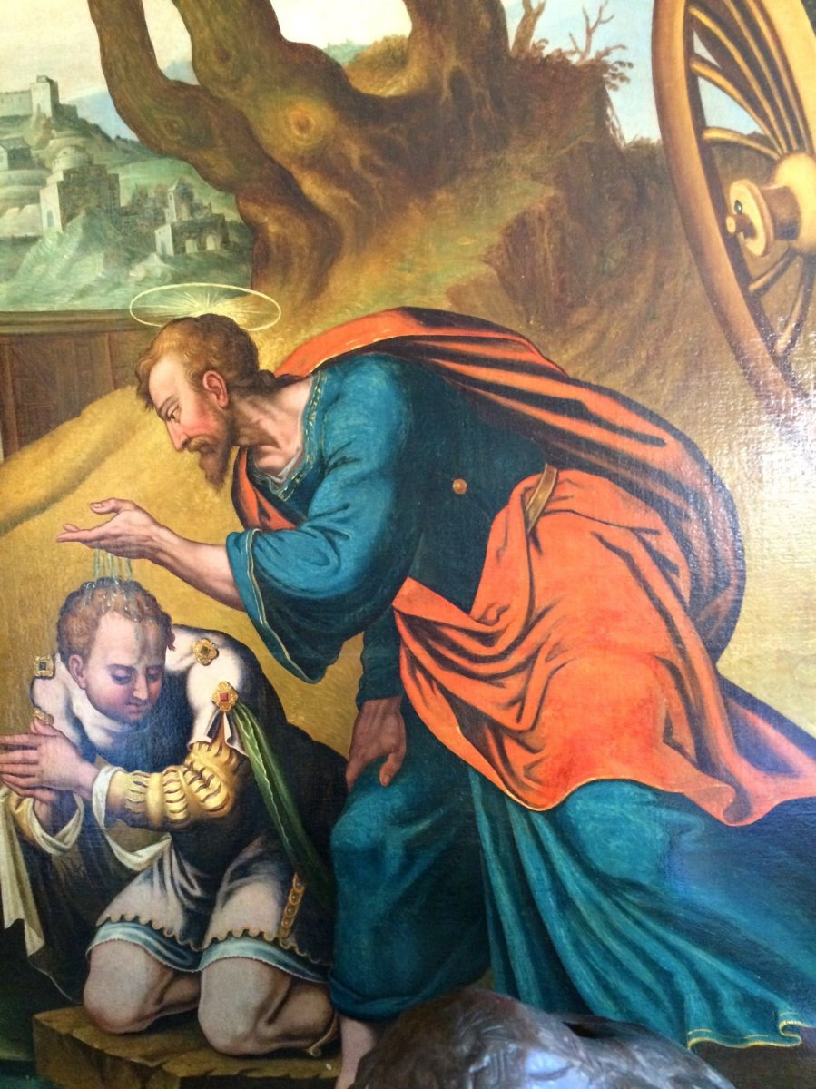 Grand tableau le baptême de l'eunuque , attribué à Van Heemskerk 16 è -photo-3