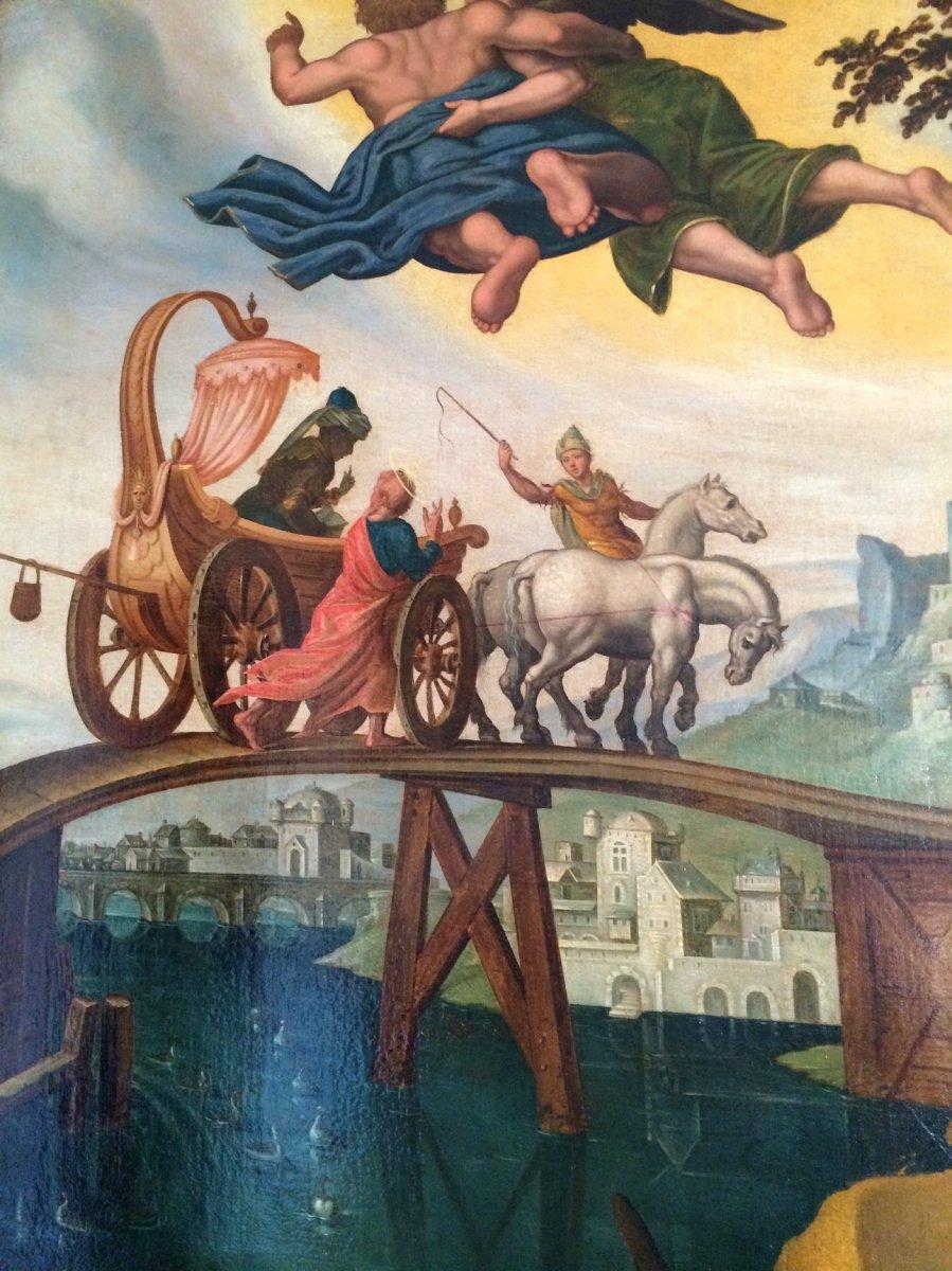 Grand tableau le baptême de l'eunuque , attribué à Van Heemskerk 16 è -photo-4