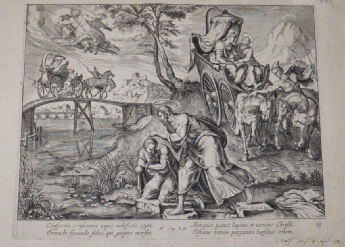 Grand tableau le baptême de l'eunuque , attribué à Van Heemskerk 16 è -photo-1