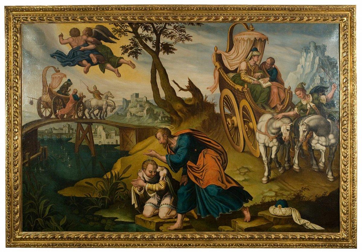 Grand tableau le baptême de l'eunuque , attribué à Van Heemskerk 16 è