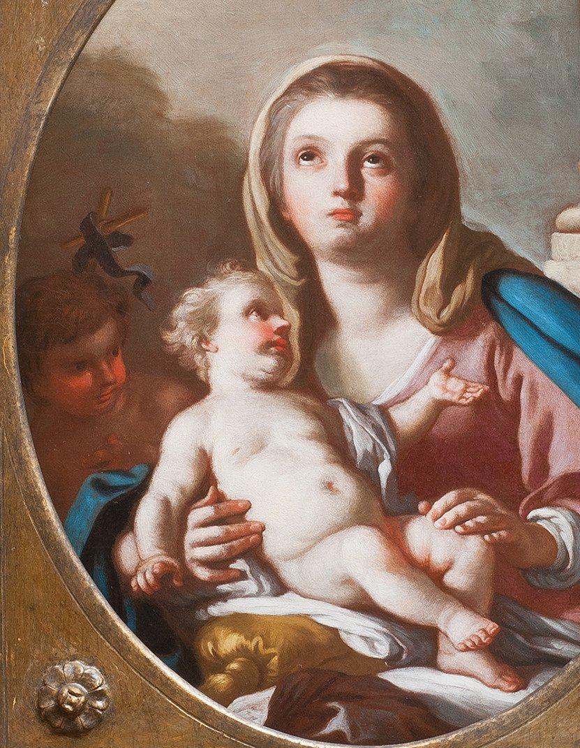 Vierge à l'Enfant avec Saint Jean Baptiste par Francesco de Mura Naples 18 è-photo-3