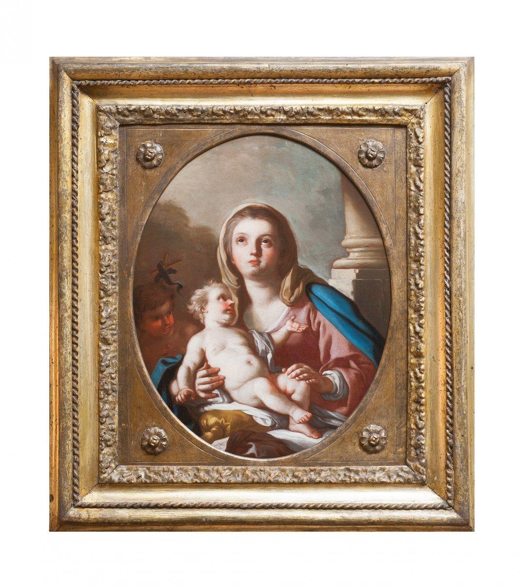 Vierge à l'Enfant avec Saint Jean Baptiste par Francesco de Mura Naples 18 è