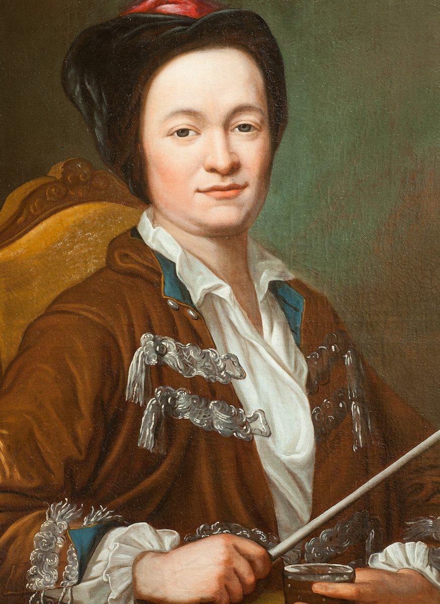Portrait d'homme à la pipe attribué à J E Handmann , école suisse 18è-photo-2