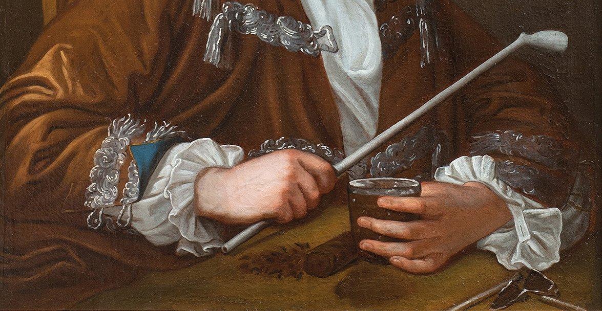 Portrait d'homme à la pipe attribué à J E Handmann , école suisse 18è-photo-3