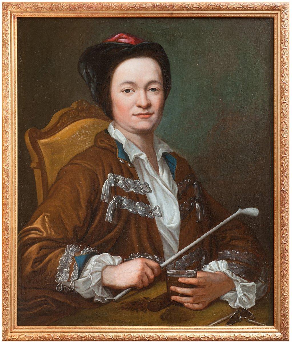Portrait d'homme à la pipe attribué à J E Handmann , école suisse 18è