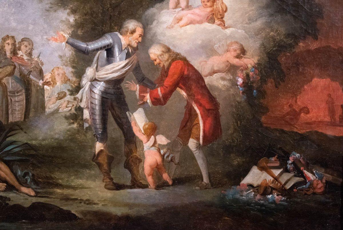 Henri IV reçoit Voltaire aux Champs Elysées  , France 18 è siècle