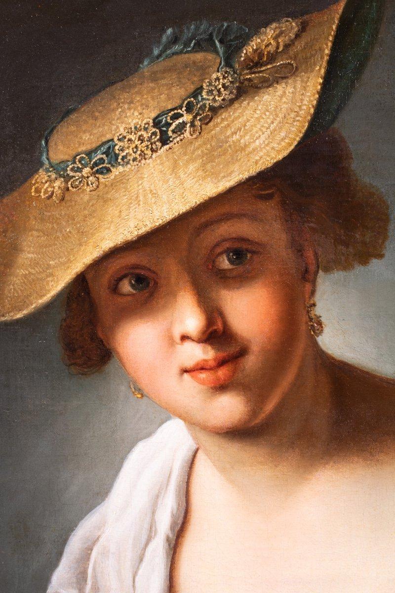 Jeune femme aux oiseaux , atelier d'Antoine Pesne , milieu 18 siècle -photo-2