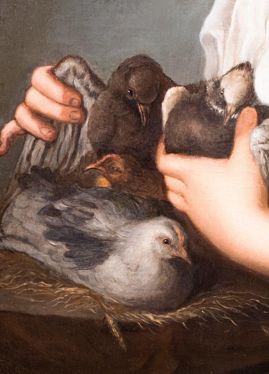 Jeune femme aux oiseaux , atelier d'Antoine Pesne , milieu 18 siècle -photo-3