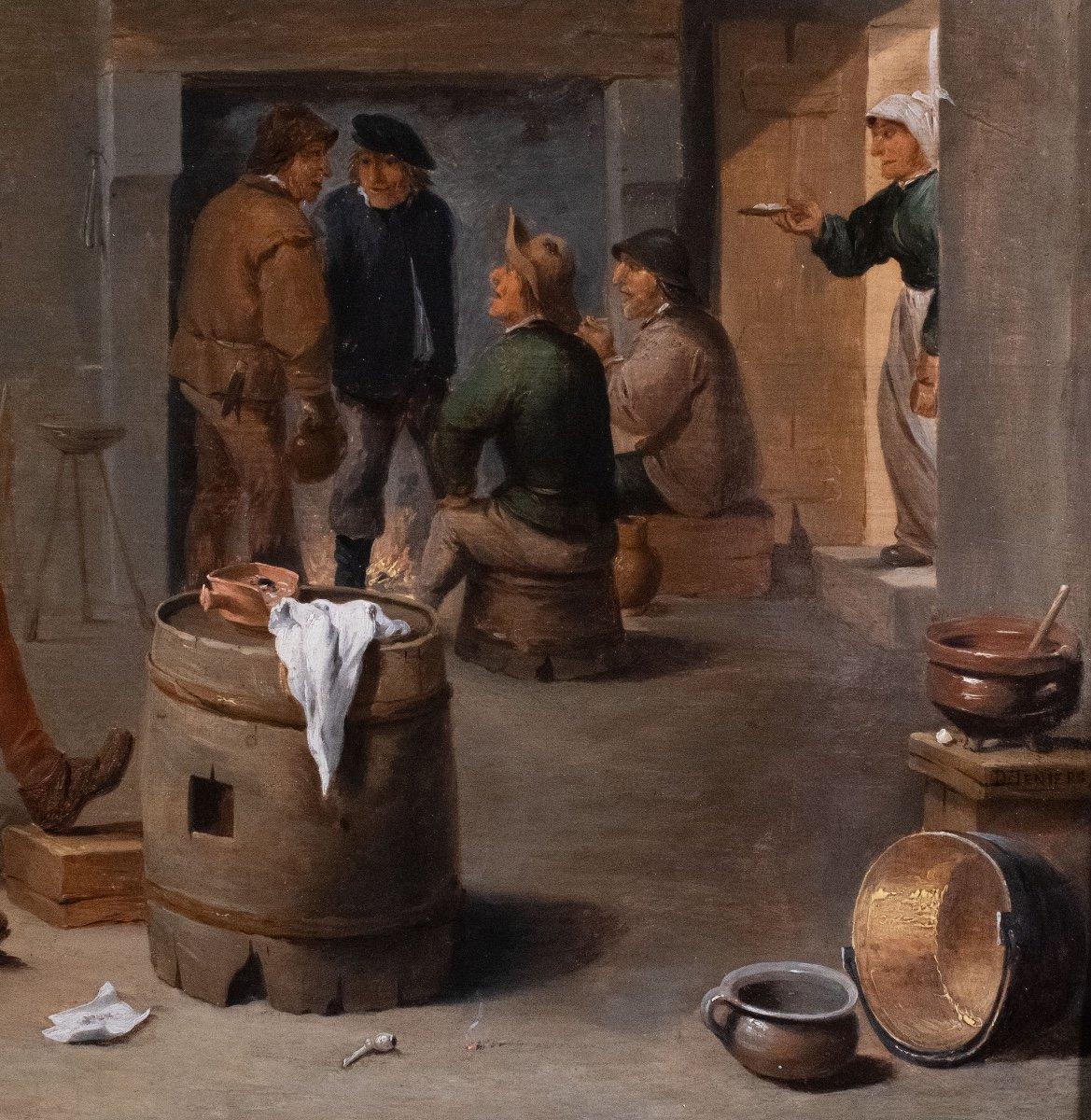 Fumeurs dans un intérieur , atelier de David Teniers , Flandre 17è Siècle