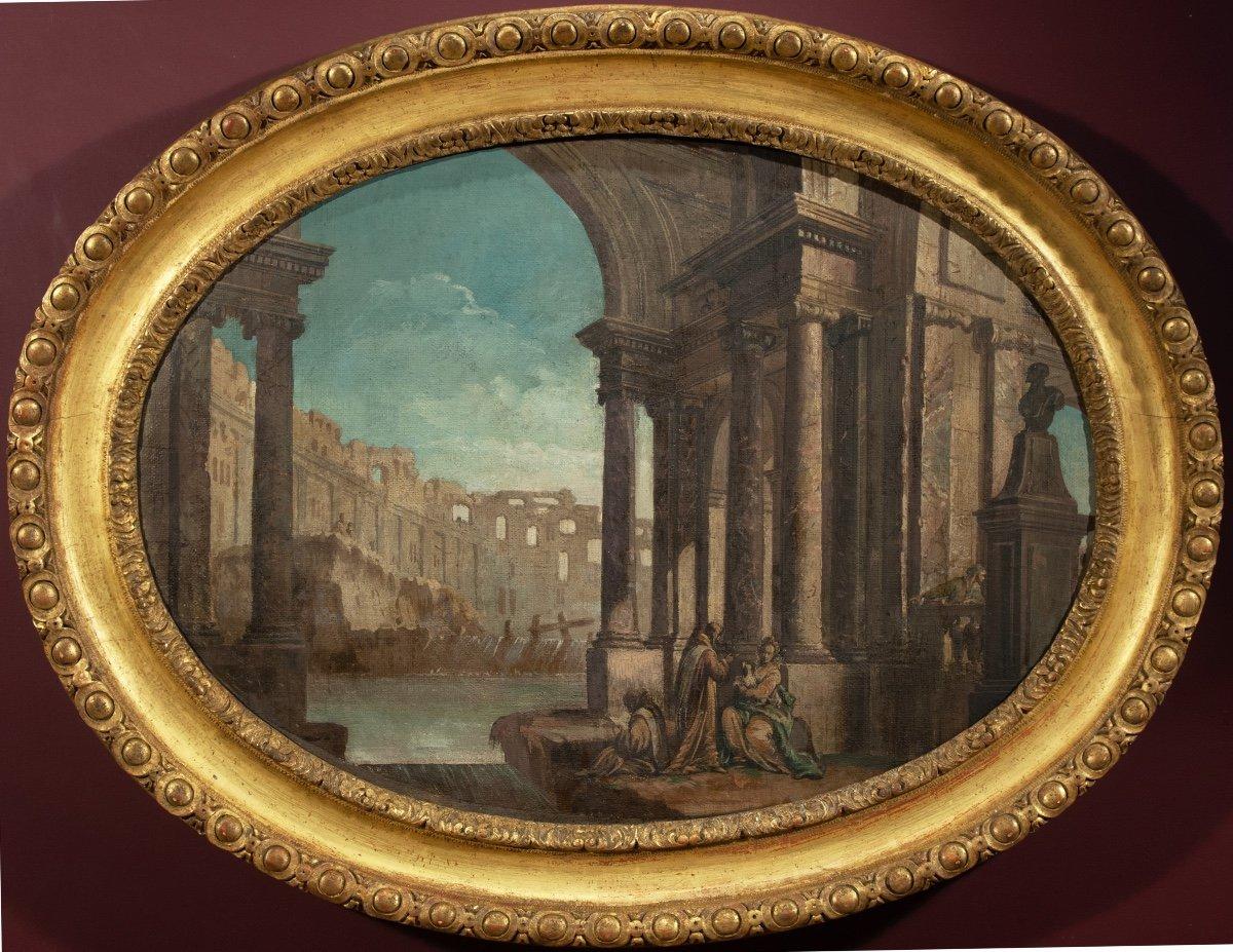 Caprice architectural animé de personnages par Pietro Paltronieri Italie 18è