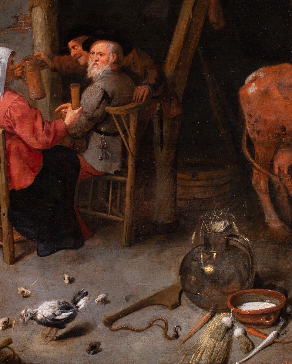 Le repas dans la ferme , atelier de Cornelis Dusart , Hollande 17 è siècle