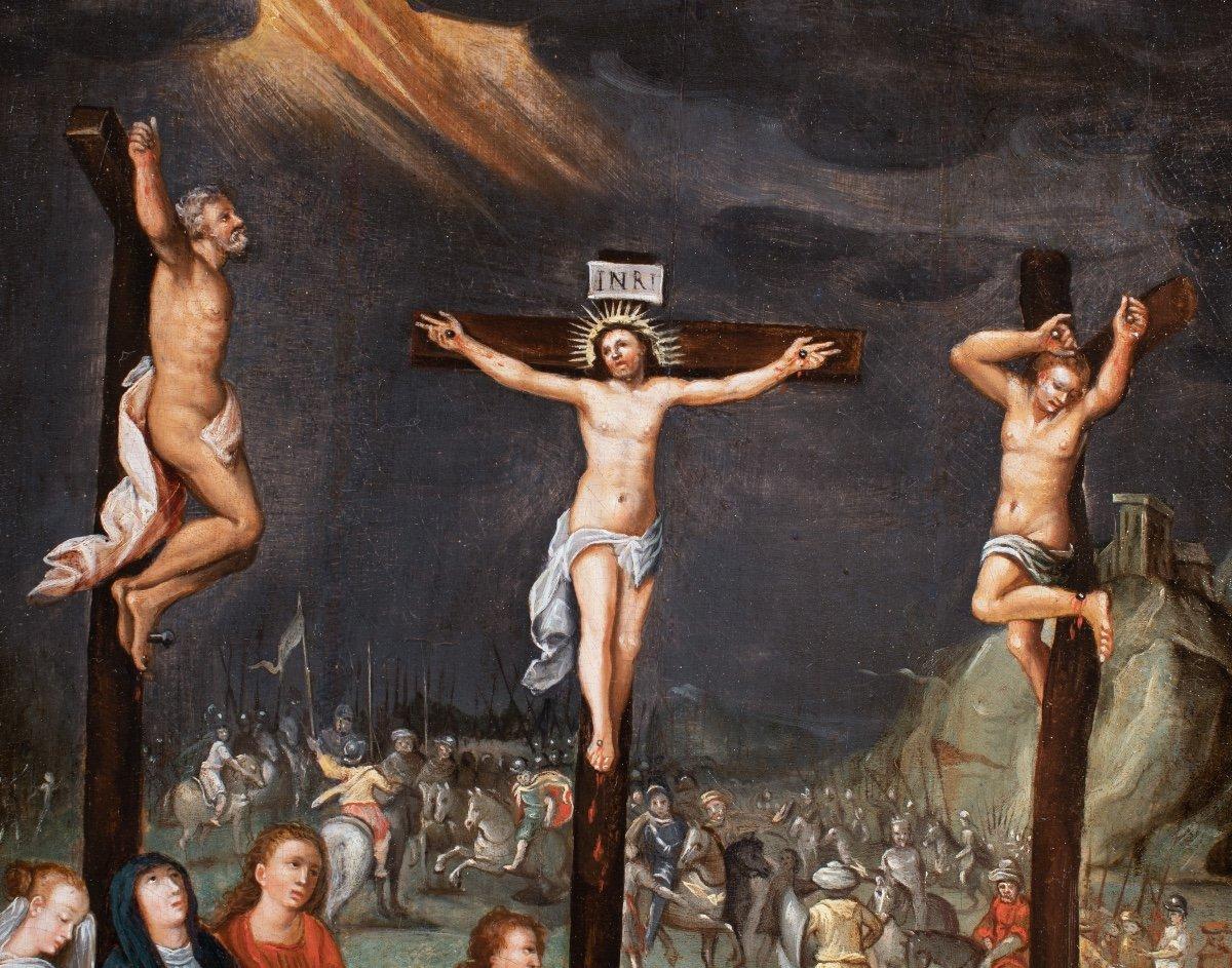 Crucifixion , école flamande fin du 16è siècle -photo-2
