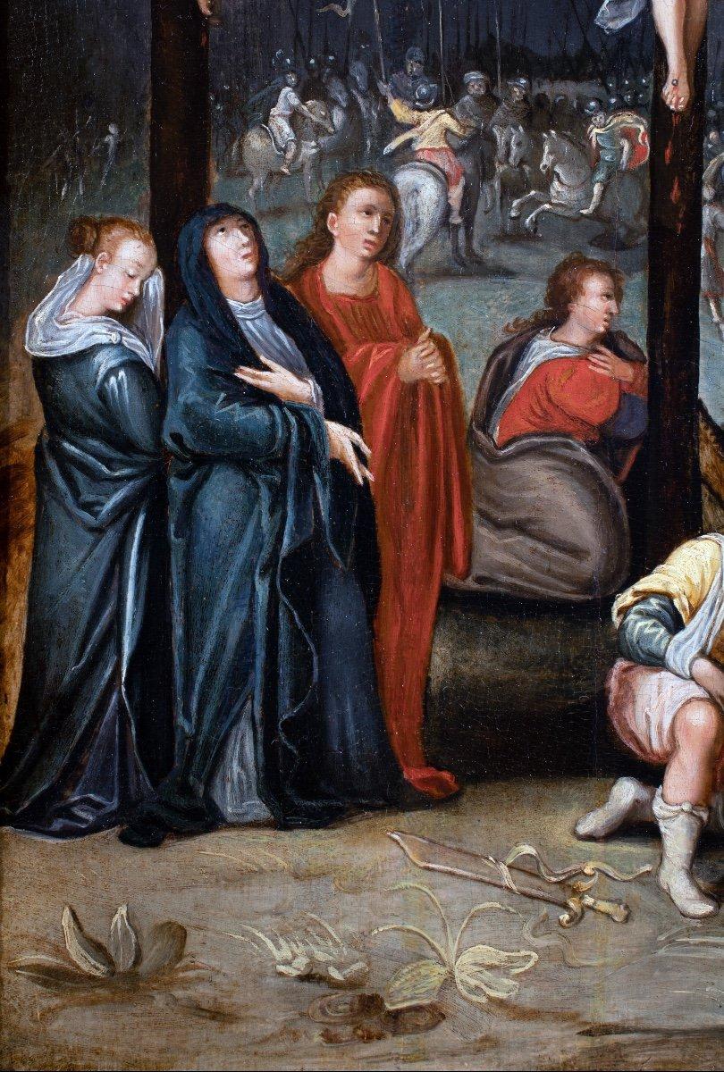 Crucifixion , école flamande fin du 16è siècle -photo-3