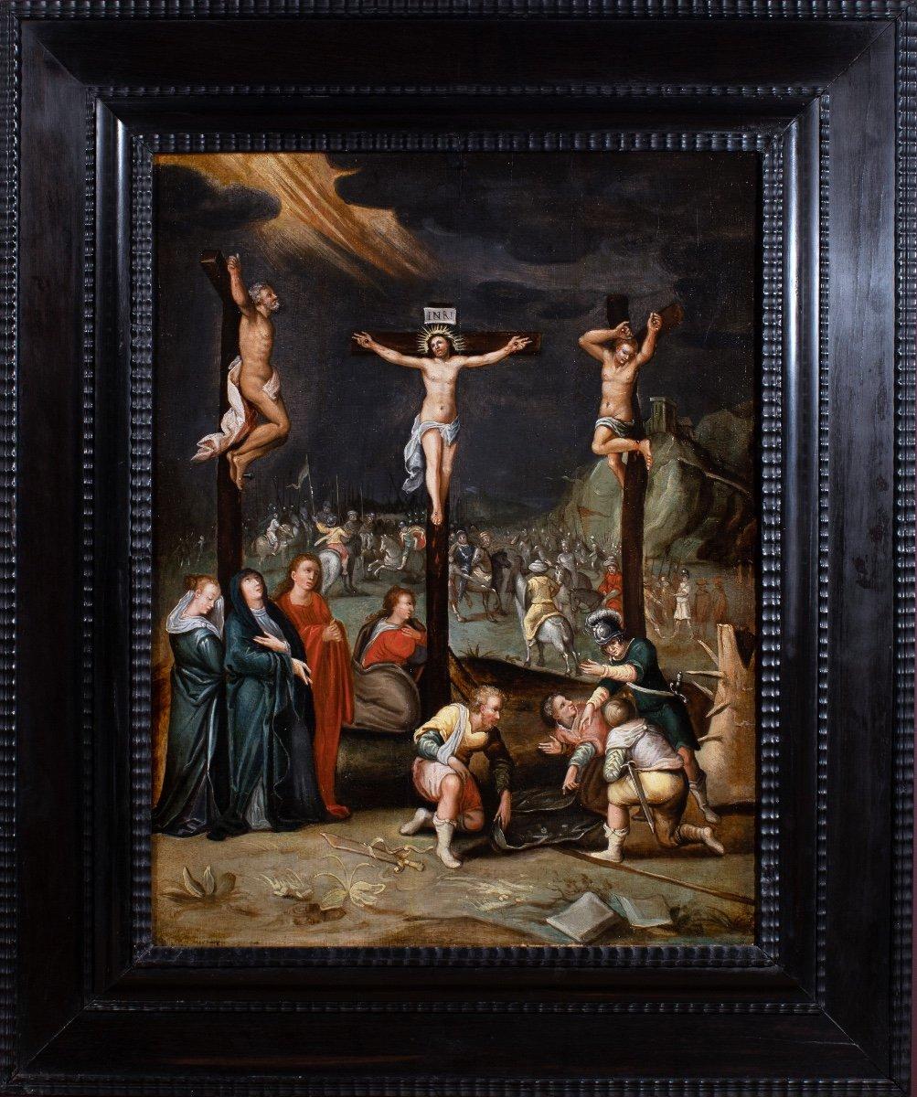 Crucifixion , école flamande fin du 16è siècle