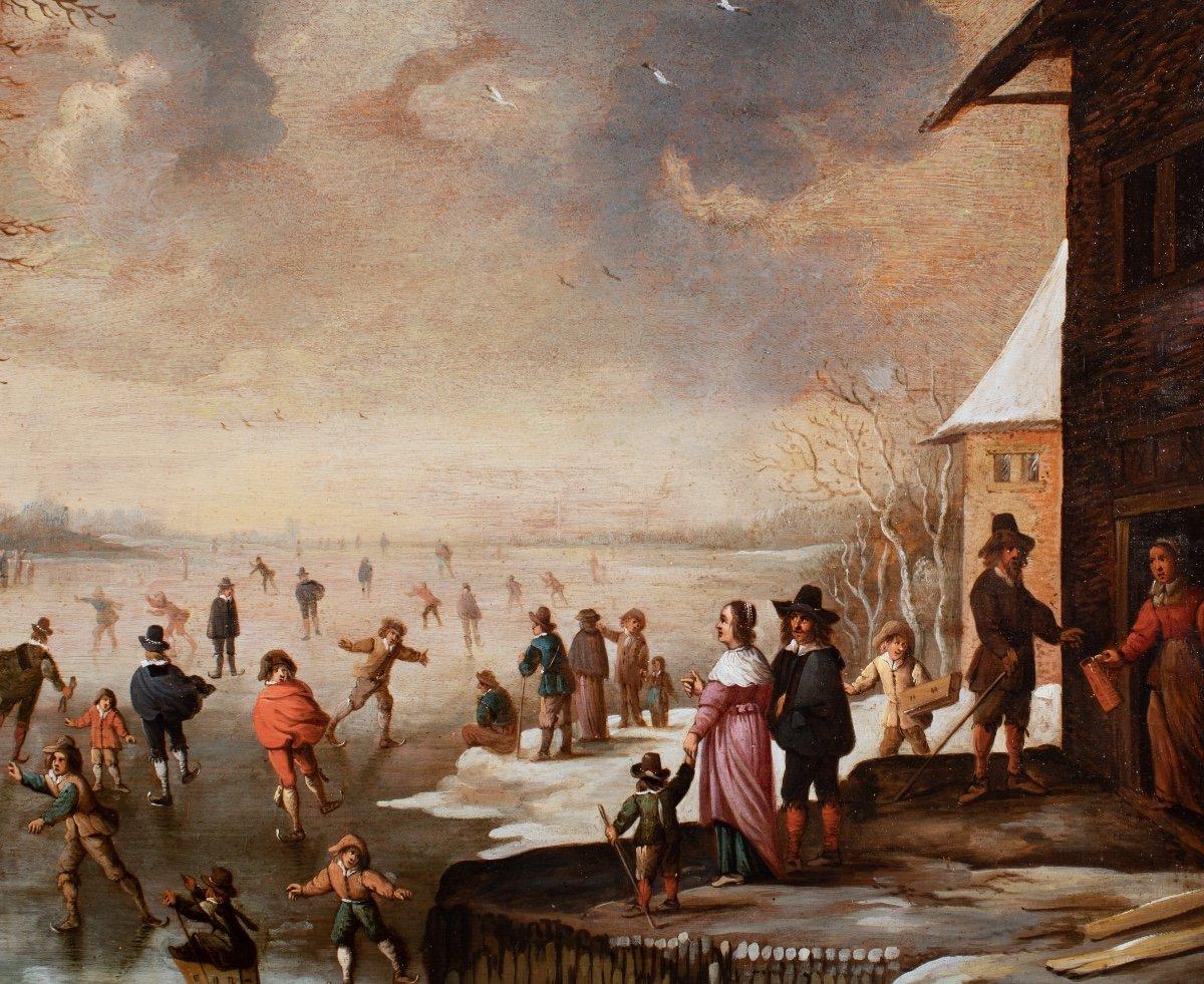 Les joies de l'hiver , attribué à Antonie Beerstraten , Hollande 17 è Siècle-photo-2
