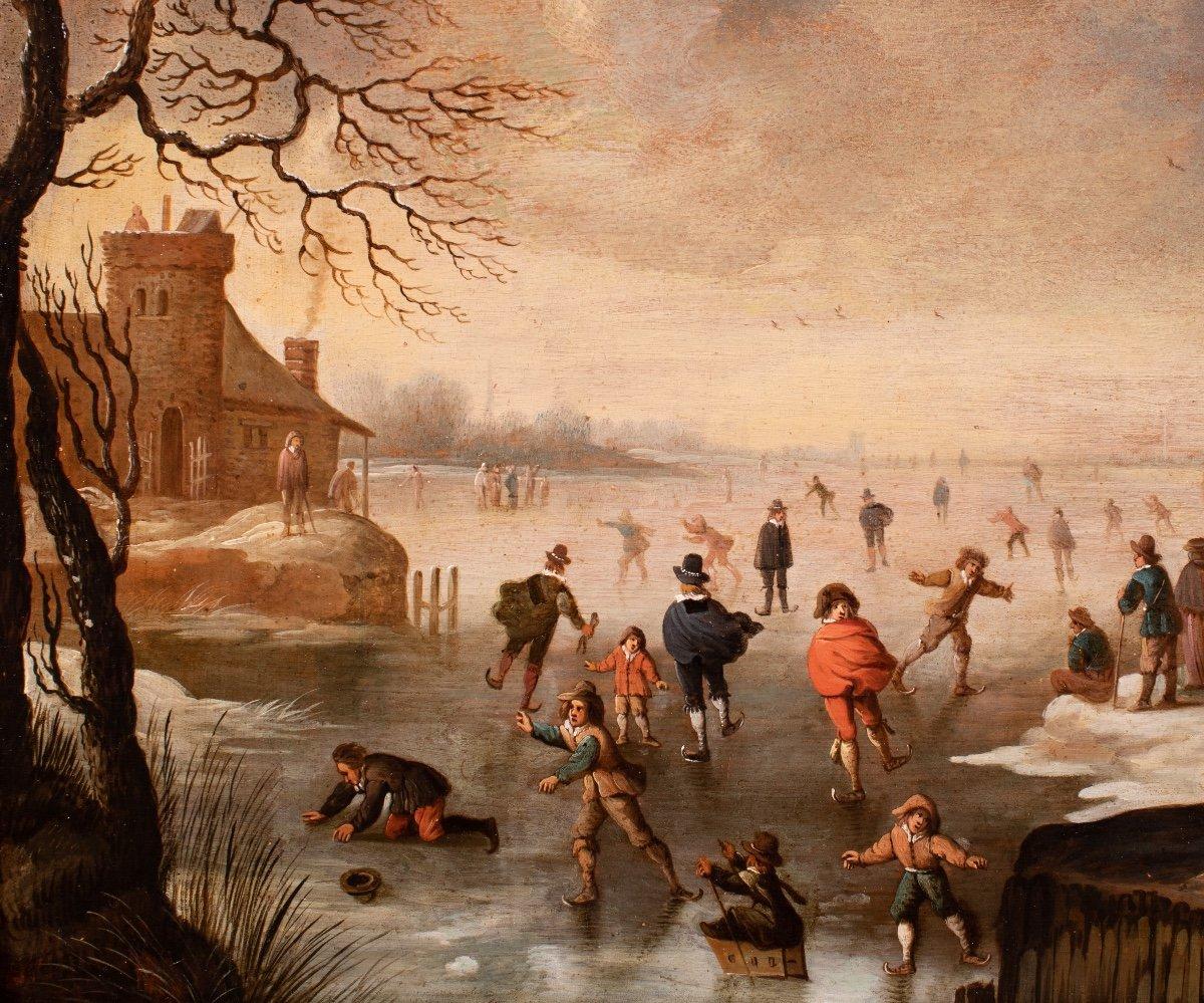Les joies de l'hiver , attribué à Antonie Beerstraten , Hollande 17 è Siècle-photo-3
