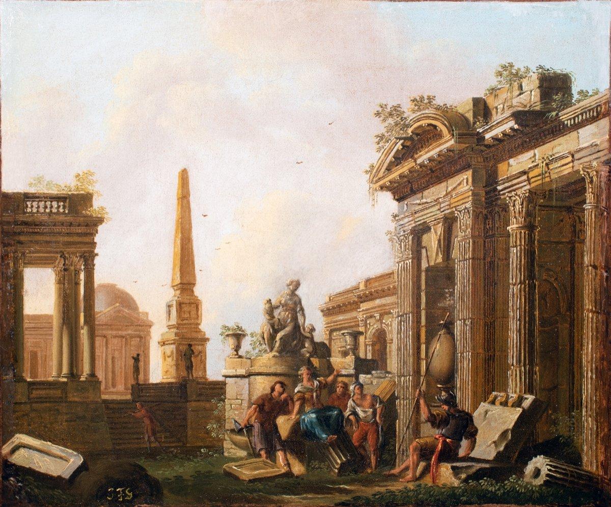 Personnages près d'un obélisque par Jean-Baptiste-François Génillion , fin 18è