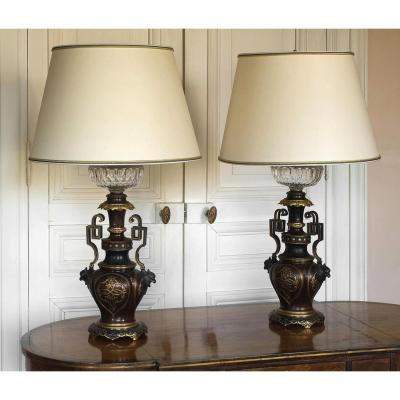 Paire de lampes en bronze , époque Napoléon III