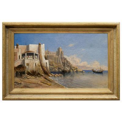 Vue de la côte italienne vers Naples , 1839 ,  Jules Jauvin