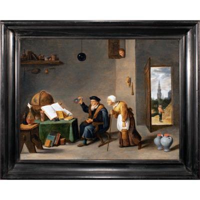 L'alchimiste dans son cabinet , atelier de Teniers , Flandre 17 è siècle