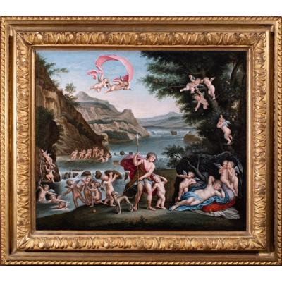 Venus et Adonis école Italienne 17 è siècle suiveur de l'Albane
