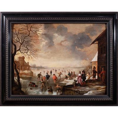 Les joies de l'hiver , attribué à Antonie Beerstraten , Hollande 17 è Siècle