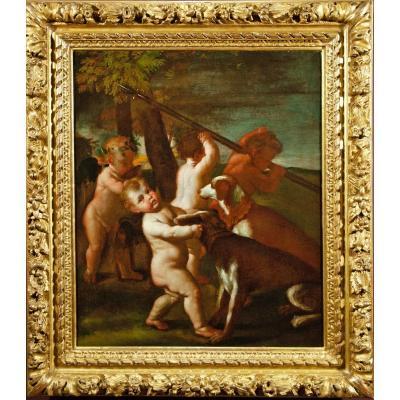 Les Préparatifs Pour La Chasse à l'Amour , Entourage De Poussin , 17è Siècle