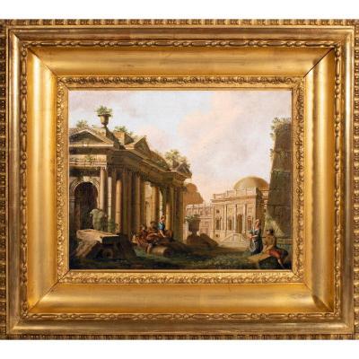 Couple près d'un temple antique par Jean-Baptiste François Génillion , fin 18è