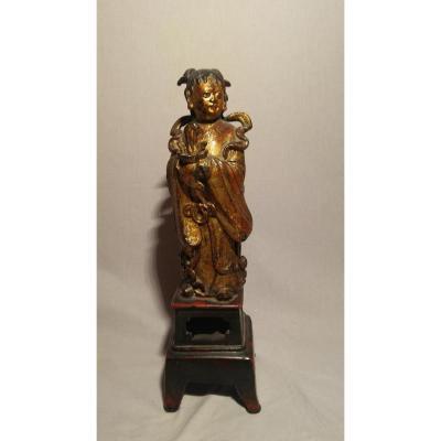 Statuette -Bronze Laqué- Chine-  Fin XVIIe S.