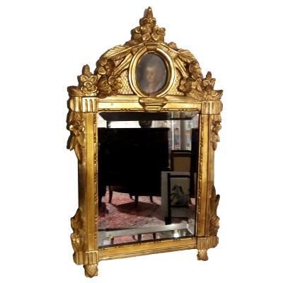 Miroir- Bois Doré- Miniature- Fin XVIIIe S.