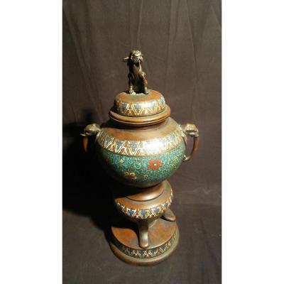 Brûle Parfum- Bronze-emaux Cloisonnés-  Début XXe S.