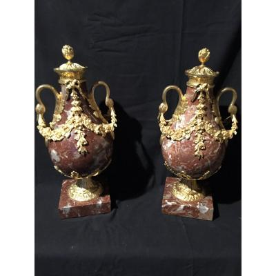 Pair Of Marble And Bronze Casseroles