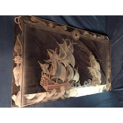 Mirror Engraved With Acid Decor Caravels