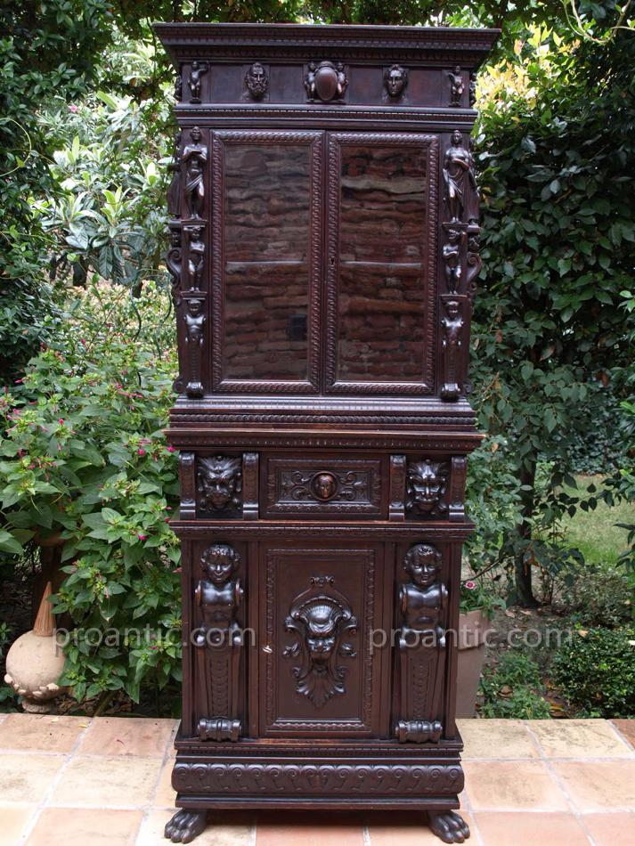 Rare stipo meuble bois sculpt ange lion secretaire for Les lions du meuble