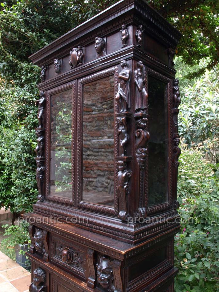 rare stipo meuble bois sculpt ange lion secretaire cabinet de curiosit italie rare d coration. Black Bedroom Furniture Sets. Home Design Ideas
