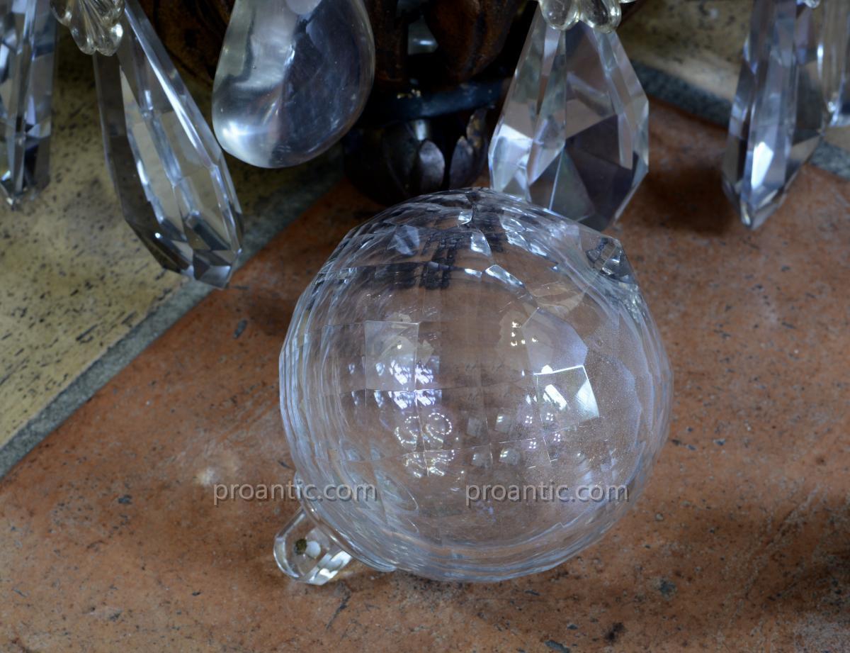 Beau  Grand Lustre Cage En Bronze Noir Et Or Napoleon 3 De Château Pampilles Cristal 10 Lum. -photo-4