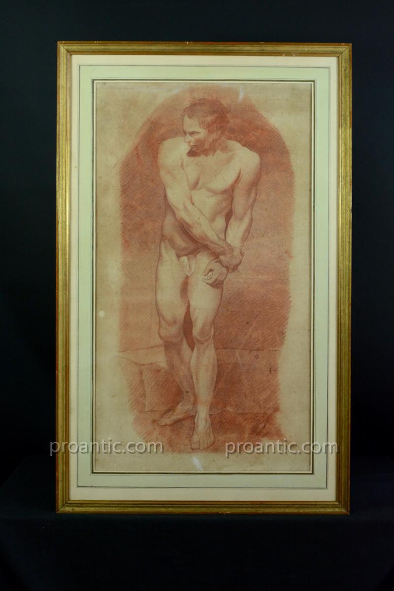 Beautiful Table Old Academie Nude Portrait Of Man 18 Th Drawing Sanguine Signed
